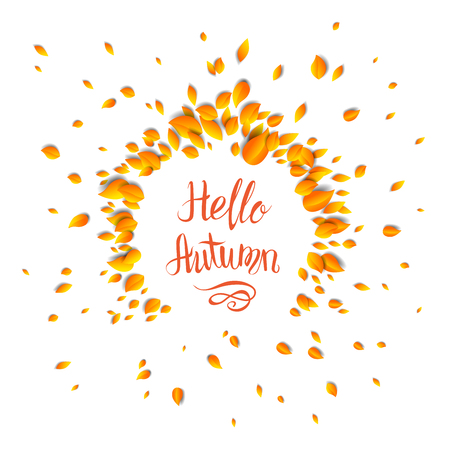 brown: Autumn leaves card template for design banner,ticket, leaflet, card, poster and so on.