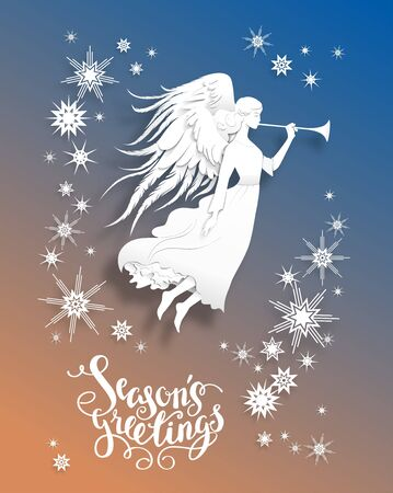 festive: Christmas  with silhouette of an angel. Luxury Christmas design for card, banner,ticket, leaflet and so on.