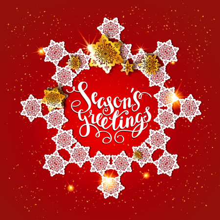 page layout: Christmas festive snowflakes for holiday invitation or card. Holiday for design banner, ticket, leaflet and so on.