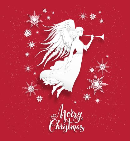 Christmas with silhouette of an angel. Luxury Christmas design for card, banner,ticket, leaflet and so on.