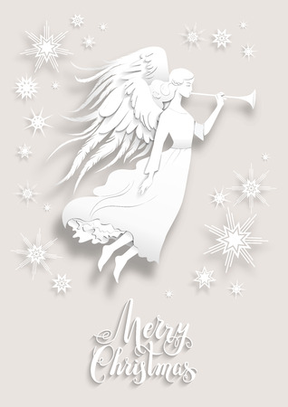 festive: Christmas with silhouette of an angel . Luxury Christmas design for card, banner,ticket, leaflet and so on.