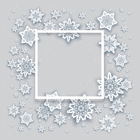 xmas background: Christmas fesive snowflakes background for holiday invitation or card. Holiday background for design banner, ticket, leaflet and so on. Illustration