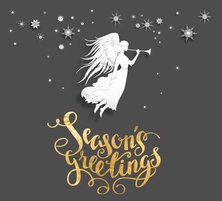 holiday background: Christmas background with silhouette of an angel on a snowy background. Luxury Christmas design for card, banner,ticket, leaflet and so on. Illustration