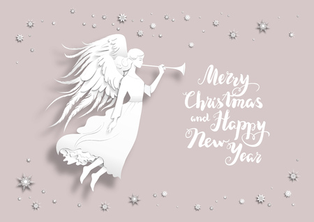 festive background: Christmas background with silhouette of an angel on a snowy background. Luxury Christmas design for card, banner,ticket, leaflet and so on. Illustration
