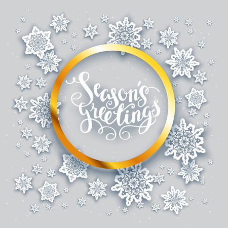 christmas decor: Christmas fesive snowflakes background for holiday invitation or card. Holiday background for design banner, ticket, leaflet and so on. Illustration