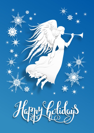 greeting season: Christmas background with silhouette of an angel on a snowy background. Luxury Christmas design for card, banner,ticket, leaflet and so on. Illustration