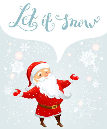 Winter holiday background with Santa Claus for Christmas invitation or card. Holiday template for design banner, ticket, leaflet and so on.