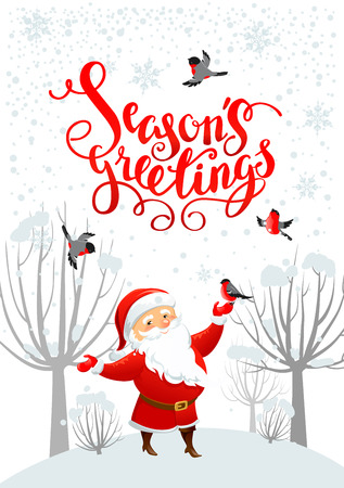 claus: Winter holiday background with Santa Claus for Christmas invitation or card. Holiday template for design banner, ticket, leaflet and so on.