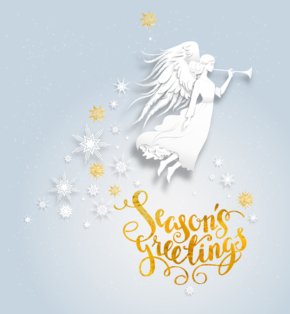 christmas backgrounds: Christmas background with silhouette of an angel on a snowy background. Luxury Christmas design for card, banner,ticket, leaflet and so on. Illustration