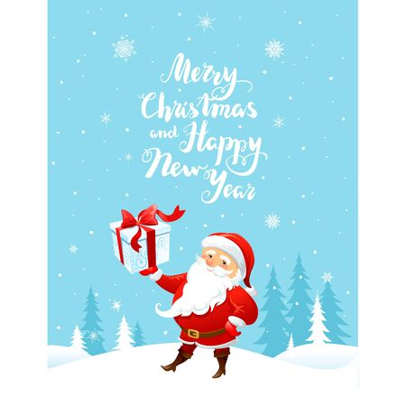 christmas gifts: Holiday Christmas background for banners, advertising, leaflet, cards, invitation and so on. Santa Claus, snowman cartoon characters. Handwritten Christmas Inscription.