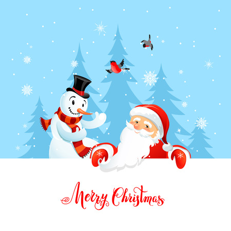 christmas celebration: Holiday Christmas background for banners, advertising, leaflet, cards, invitation and so on. Santa Claus, snowman cartoon characters. Handwritten Christmas Inscription.