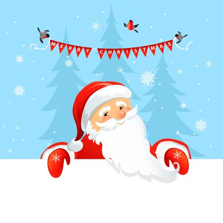 Holiday Christmas background for banners, advertising, leaflet, cards, invitation and so on. Santa Claus, snowman cartoon characters.