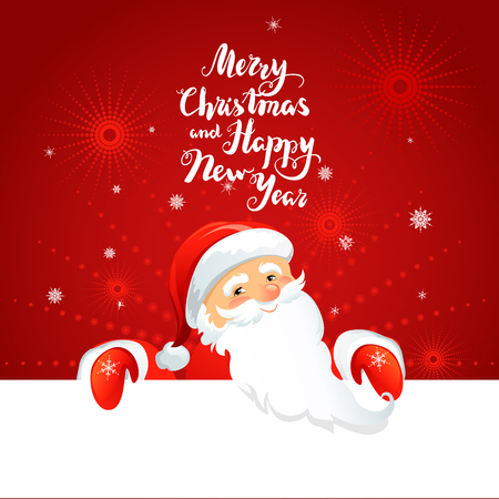 festive background: Holiday Christmas background for banners, advertising, leaflet, cards, invitation and so on. Santa Claus, snowman cartoon characters. Handwritten Christmas Inscription.