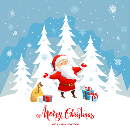 cartoon christmas eve: Holiday Christmas background for banners, advertising, leaflet, cards, invitation and so on. Santa Claus, snowman cartoon characters. Handwritten Christmas Inscription.