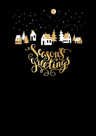 greeting season: Holiday Christmas for banners, advertising, leaflet, cards, invitation and so on. Handwritten Christmas Inscription. Illustration
