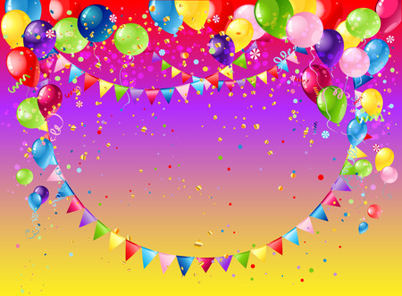 shiny background: Holiday template for design banner,ticket, leaflet, card, poster and so on. Happy birthday background and balloons Illustration
