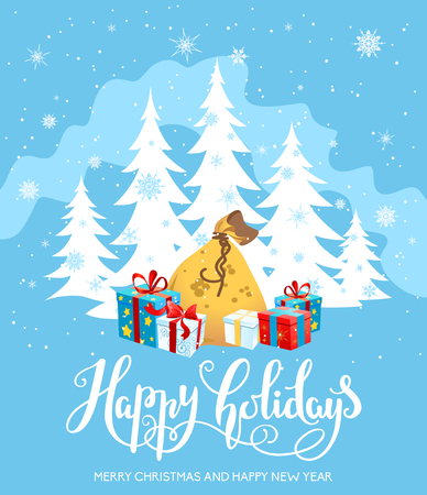 christmas tree illustration: Holiday Christmas background for banners, advertising, leaflet, cards, invitation and so on. Handwritten Christmas Inscription.