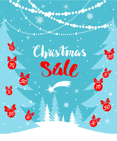 winter tree: Big Christmas sale. Seasonal sale background for banners, advertising, leaflet, cards, invitation and so on.