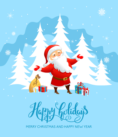 greeting season: Holiday Christmas background for banners, advertising, leaflet, cards, invitation and so on. Santa Claus, snowman cartoon characters. Handwritten Christmas Inscription.
