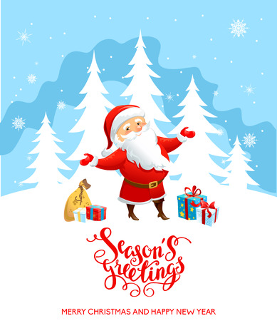 claus: Holiday Christmas background for banners, advertising, leaflet, cards, invitation and so on. Santa Claus, snowman cartoon characters. Handwritten Christmas Inscription.