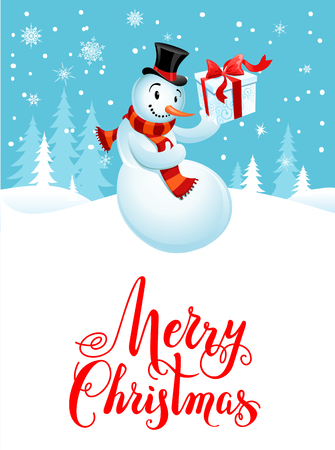 christmas gifts: Holiday Christmas background for banners, advertising, leaflet, cards, invitation and so on. Snowman cartoon characters. Handwritten Christmas Inscription.