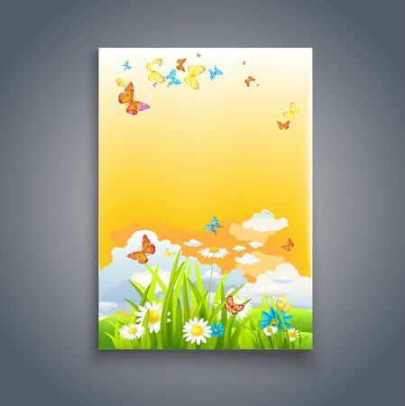 magazine cover: Enjoy summer card. Nature template for design banner,ticket, leaflet, card, poster and so on.