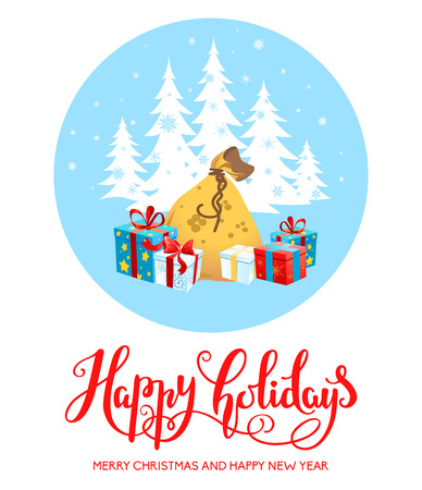 claus: Holiday Christmas background for banners, advertising, leaflet, cards, invitation and so on. Santa Claus, cartoon characters. Handwritten Christmas Inscription. Illustration