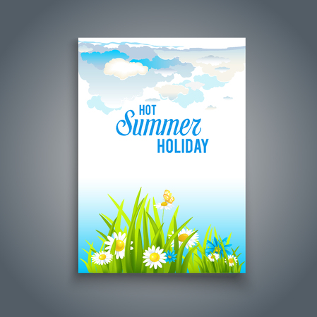 chamomile flower: Enjoy summer card. Nature template for design banner,ticket, leaflet, card, poster and so on.