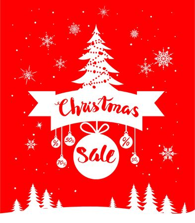 christmas celebration: Big Christmas sale. Seasonal sale background for banners, advertising, leaflet, cards, invitation and so on.