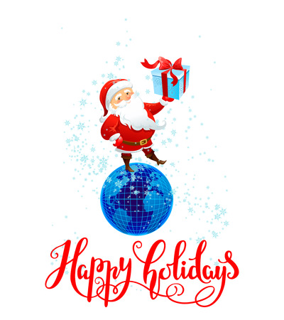 Holiday Christmas background for banners, advertising, leaflet, cards, invitation and so on. Santa Claus, cartoon characters. Handwritten Christmas Inscription. Illustration