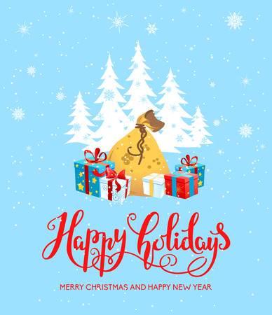 christmas celebration: Holiday Christmas background for banners, advertising, leaflet, cards, invitation and so on. Santa Claus, cartoon characters. Handwritten Christmas Inscription. Illustration