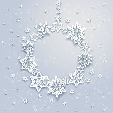 white background: Christmas snowflakesl frame Stock Photo