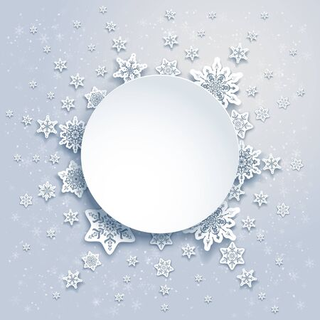 festive background: Winter snowflakes frame Stock Photo