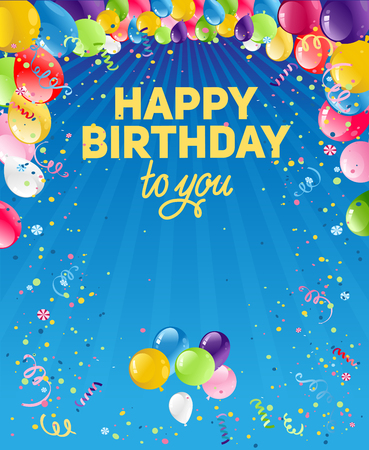 Holiday template for design banner, ticket, leaflet, card, poster and so on. Happy birthday background and balloons