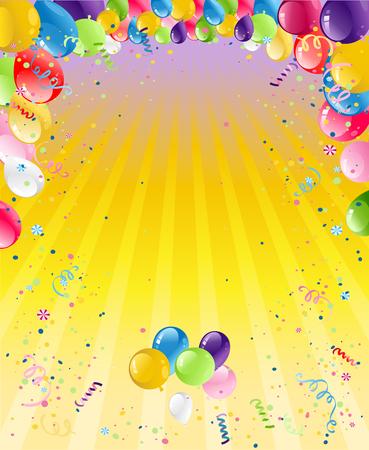 Urlaubsvorlage für Design-Banner, Ticket, Prospekt, Karte, Poster und so weiter. Happy Birthday Hintergrund und Ballons