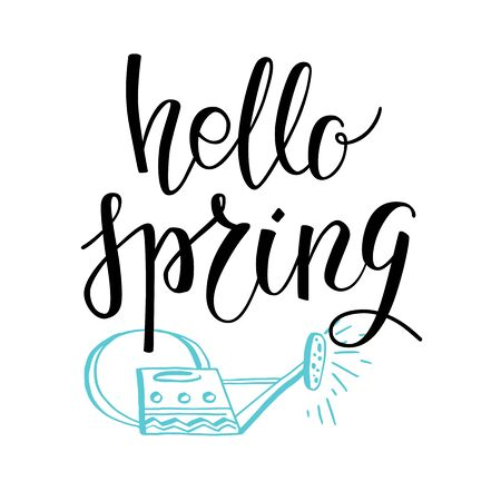 Spring lettering card Illustration