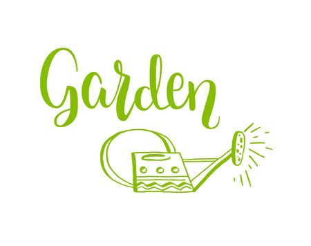 modern garden: Spring garden template for design banner,ticket, leaflet, card, poster and so on. Handwritten inscription. Modern lettering