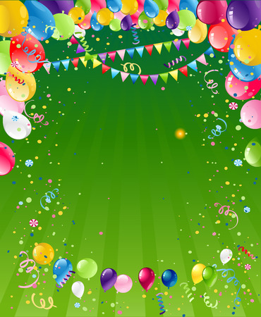 festive background: Holiday template for design banner,ticket, leaflet, card, poster and so on. Happy birthday background and balloons Illustration