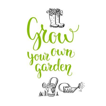 Spring garden template for design banner,ticket, leaflet, card, poster and so on. Handwritten inscription. Modern lettering