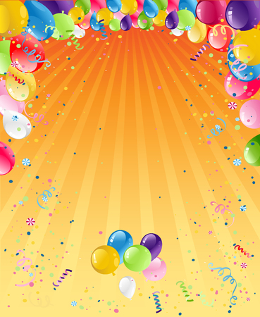 holiday party: Holiday template for design banner,ticket, leaflet, card, poster and so on. Happy birthday background and balloons Stock Photo