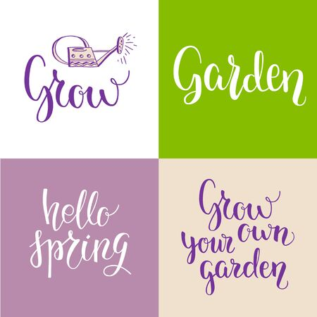 modern garden: Green garden lettering. Spring garden template for design banner,ticket, leaflet, card, poster and so on. Handwritten inscription. Modern lettering
