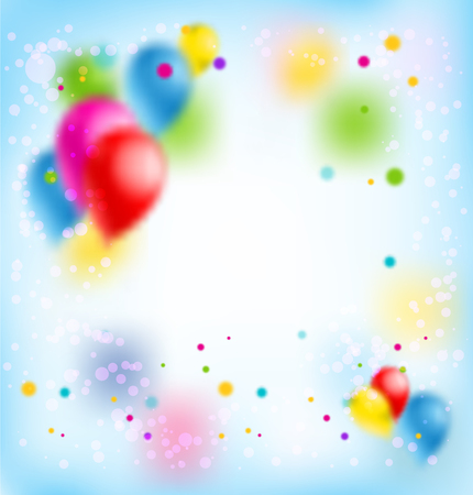 Holiday template for design banner,ticket, leaflet, card, poster and so on. Happy birthday background and balloons Illustration