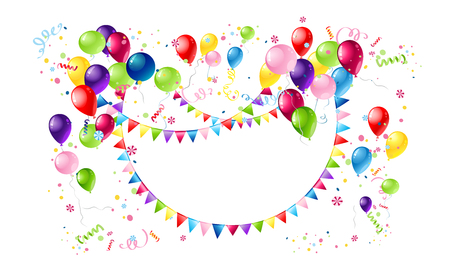 flag: Holiday template for design banner,ticket, leaflet, card, poster and so on. Happy birthday background and balloons. Happy holiday banner.