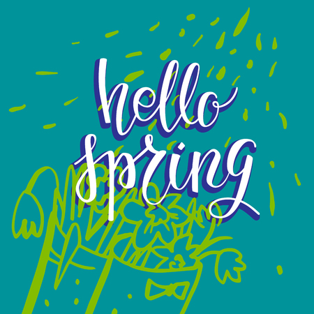 Hello spring green card. Spring garden template for design banner,ticket, leaflet, card, poster and so on. Handwritten inscription. Modern lettering