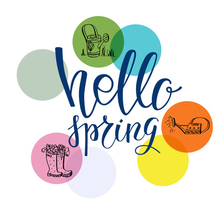 Hello spring lettering. Spring garden template for design banner,ticket, leaflet, card, poster and so on. Handwritten inscription. Modern lettering