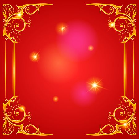 holiday party: Gold holiday frame on red Stock Photo