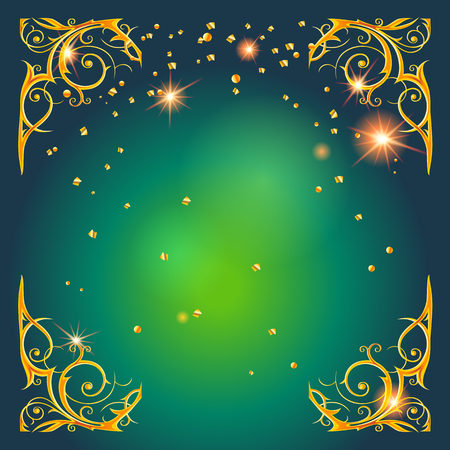 shiny: Gold holiday frame on green Stock Photo