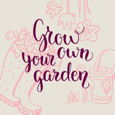 modern garden: Hello spring green card. Spring garden template for design banner,ticket, leaflet, card, poster and so on. Handwritten inscription. Modern lettering