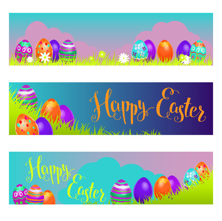pascuas navideÑas: Holiday Easter banners Vectores
