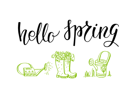 drawings image: Hello spring green lettering